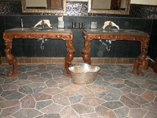 Custom twin vanities for a men's room in a resturant