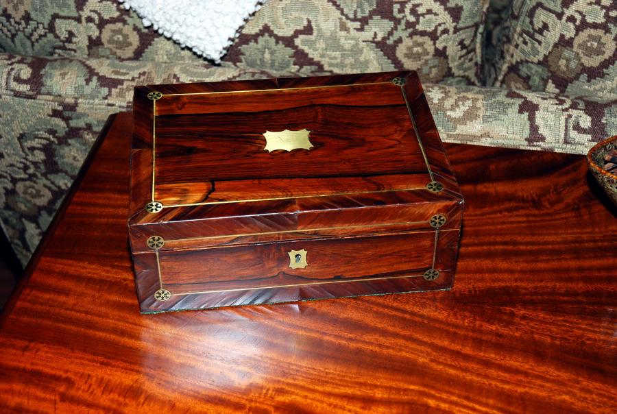 Amazing Antique Rosewood Writing Box