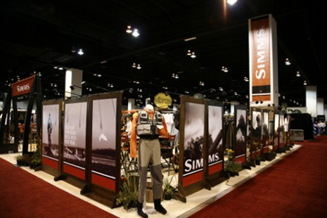 Wide view of the Simms display built by Rocky Mountain Furniture Restoration